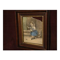 "Currier and Ives print in original 19th century walnut and gilt frame ""Little Snowbird"""