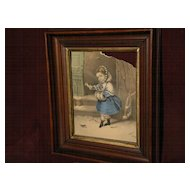 """Currier and Ives print in original 19th century walnut and gilt frame """"Little Snowbird"""""""