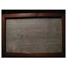 JOHN QUINCY ADAMS presidential memorabilia scarce authentic autograph on 1827 land grant