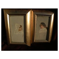 PAIR Spanish 19th century paintings signed MORA sensitive oil studies of two ladies