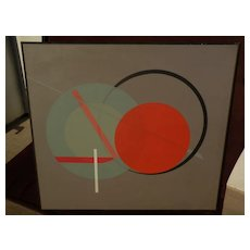 "Large signed mid century style modern colorful ""hard edge"" abstract painting"