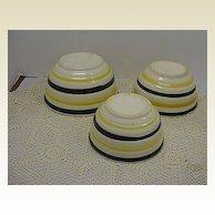 Black & Yellow Stripe Stoneware Nesting Bowls