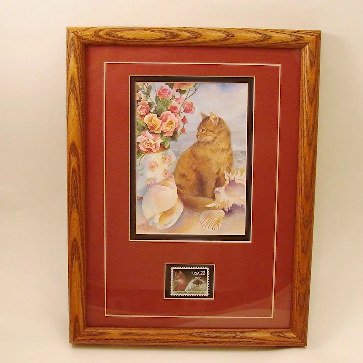 Limited Cat by The Sea Framed & Matted with USA Postage Stamp