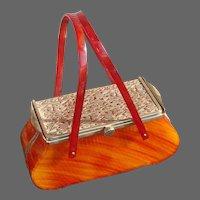 Vintage Hard Body Hand Bag Feiner Bags Fifth Ave., New York Faux Tortoise Shell