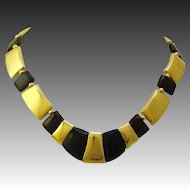 Vintage 1980's Napier Signed Egyptian Inspired Gold Plated & Black Collar Necklace