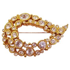 Swarovski Crystal 23k Gold Plated Pin Signed Swan Logo
