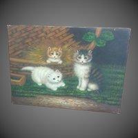 Kitten Acrylic Paint Embellishment Giclee on Canvas