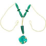 Liz Claiborne Foiled Glass Drop Necklace Circa 1980's