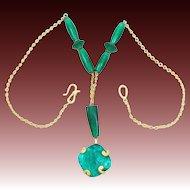 Signed Liz Claiborne Foiled Glass Drop 1980's Necklace 1980's