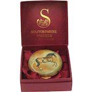 Staffordshire Enamels Hand Painted Georgian Revival Enamel Stallion Horse Trinket Snuff Box