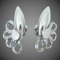 Industrial Age Signed HOBE Silver Tone Earrings