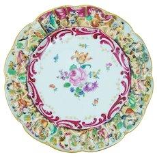 German Porcelain Rudolstadt Display Cabinet Plate Capodimonte Style
