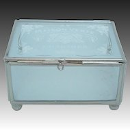 "French Frosted Glass Trinket Box Jewelry Casket ""Maison Verte Chartres"""