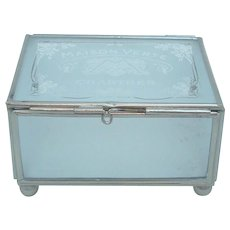 """French Frosted Glass Trinket Box Jewelry Casket """"Maison Verte Chartres"""""""