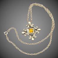 Bold Etruscan Style Signed Necklace & Pendant Set