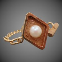 14K Solid Yellow Gold & Pearl Tie Tack Pin
