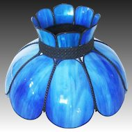 Stunning Blue Slag Eight Panel Stained Glass & Brass Shade