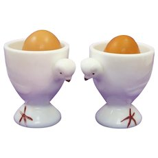 Pair of Whimsical Westmoreland Milk Glass Chic Egg Cups