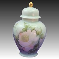 Elegant Hand Painted Signed & Dated Ginger Jar ~ Urn with Lid