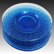 Stunning Hand Made Cobalt Blue Glass Luncheon Plates with Controlled Bubbles