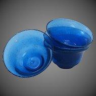 Unique Hand Blown Art Glass Cobalt Blue Rimmed Soup ~ Salad Bowls