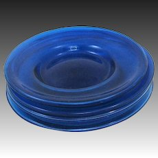 Hand Blown Art Glass Cobalt Plates with Bubbles
