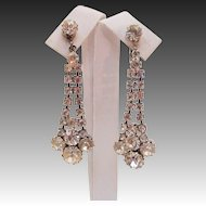 """Incredible Dripping 2 1/4""""  Cascading Waterfall Earrings Alive with Fire & Sparkle"""