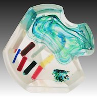 Incredible Fused Layered Abstract Art Glass Sculpture
