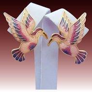 Unique Cloisonne Enamel Hummingbird Earrings