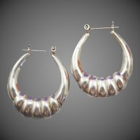 Vintage Sterling Silver Scalloped Hoop Earrings