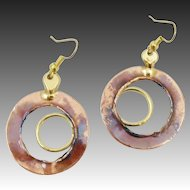 Vintage Mixed Medals Hammered Copper Abstract Earrings