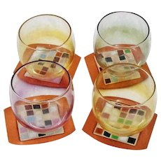 Mid-Century Modern Set of Four Rainbow Colored Roly Poly  Glasses ~ Iridescent ~ Mad Men Era & Coasters