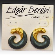 1980's Edgar Berebi Signed Etruscan Earrings on Original Presentation Card