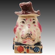 Delightful Double Head Dog Glazed Terracotta Statue