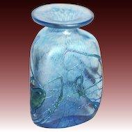 Amazing Robert Held Hand Made Three Sided Iridescent Art Glass Vase