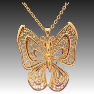 Rare Luca Razza Jointed Moving Butterfly Necklace