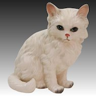 Vintage Silver Tipped White Long Haired Kitty Cat by Lefton
