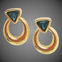 Early Swarovski Crystal Trilliant Cut Sapphire Blue Australian Crystals Door Knocker Earrings