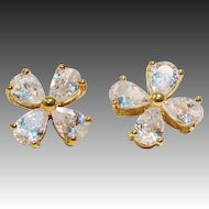 Cubic Zirconia Clover Gold Over 925 Sterling Pierced Stud Earrings