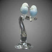 Murano Art Glass Sculpture Opaline Love Birds in Clear Glass Tree