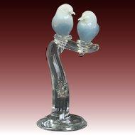 Murano Art Glass Sculpture Opaline Love Birds in Clear Glass Tree