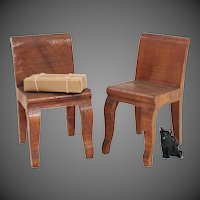 Hand Carved Solid Wood Dollhouse Chairs