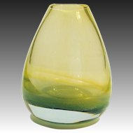 Mid-Century Modern Gold & Green Cased Murano Art Glass Vase