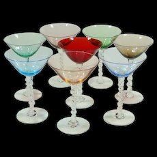 Vintage Hand-Blown Italian Colored Clear Barley Twisted Stem Glasses ~ Set of 8