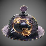 Croesus Amethyst with Gold Trim by Riverside Round Butter Dish