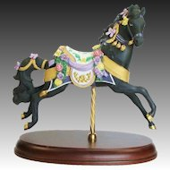 Retired The Carousel Midnight Charger Bisque Porcelain Horse by Lenox