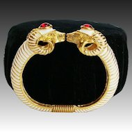 Kenneth Jay Lane ~ K.J.L. Enamel Rams Head Clamper Bracelet