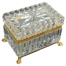 50% OFF Clear Crystal French Jewelry Casket ~ Box with Hinged Lid and Claw Feet