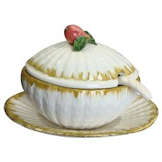 Italian Gravy Soup Tureen Four Piece Set with Fig Handle - Red Tag Sale Item