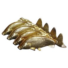 Hollywood Regency Mid-Century Modern Italian 24K Gold Plated Fish Napkin Holders Set - Red Tag Sale Item